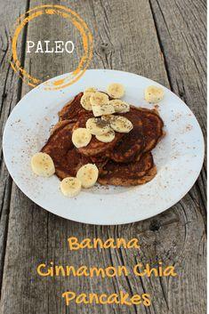 Banana Cinnamon Chia Paleo Pancakes Clean Eating Pancakes, Paleo Pancakes, Clean Eating Breakfast, Vegetarian Breakfast, Best Breakfast Recipes, Breakfast Ideas, Second Breakfast, Breakfast Time, Dairy Free Recipes