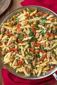 Kale and Turkey Sausage Pasta with Sun Dried Tomatoes (skip the cream sauce and use gf penne) #glutenfree