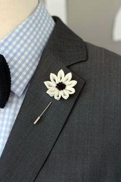 Elegant white Flower lapel pin Mens lapel flower by Nevestica