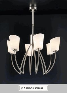 "CLESSIDRA 7306-Satin Nickel Pendant Lighting    Telescopic From 31"" to 37""  Dimension: WIDTH-30""    Bulb: 6 x 60W – 120V – A19    Finish: Satin Nickel    Glass-Matte Opal"