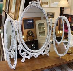 Triptych dressing table mirror in French style now available in store.