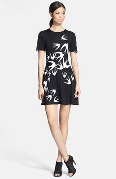 McQ by Alexander McQueen Bird Print Fit & Flare Dress