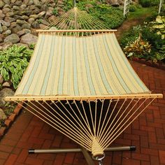 Patio hammocks - Pin it! :) Follow us :))  zPatioFurniture.com is your Patio Furniture Gallery ;) CLICK IMAGE TWICE for Pricing and Info :) SEE A LARGER SELECTION of  patio hammocks at http://zpatiofurniture.com/category/patio-furniture-categories/hammocks/ - home, patio, home decor - 82″ x 55″ Aqua Green and Tan Striped Reversible Quilted Double Hammock « zPatioFurniture.com