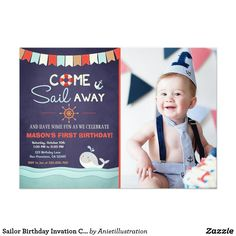 Sailor Birthday Invation Come Sail Away Nautical Card ♥ A perfect way to invite your guests to your little one's birthday party!
