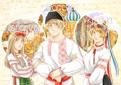 .:APH:. Kievan Rus Family by kamillyanna.deviantart.com on @DeviantArt - Natalia, Ivan, and Katya (head-canon name for Ukraine)