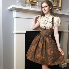 Holiday SALE- Steampunk Lolita Corset Dress- underbust corset dress, steel boned, custom made, custom printed fabric