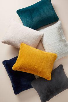Orange Pillows by Anthropologie, Sophie Faux Fur Pillow Yellow Pillows, Velvet Pillows, Throw Pillows, Cool Diy, Color Ceniza, Latex Mattress, Fur Pillow, Pillow Texture, Natural Latex