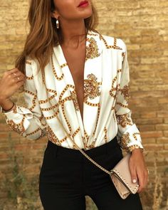 Sexy Deep V Print Long-Sleeved Fashion Shirt - Shopify Ecommerce - Get the 14 days free trial and build your own Shopify store. - Sexy Deep V Print Long-Sleeved Fashion Shirt Stylishvovo Trend Fashion, Fashion Outfits, Womens Fashion, High Fashion, Cheap Fashion, Workwear Fashion, Fashion Shirts, Fashion Top, Fashion Vintage