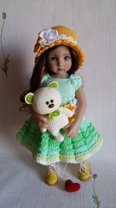 "Toy knitted bear for dolls 13"" Dianna Effner Little Darling. Hand made  