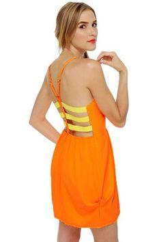 Cute Neon Orange Dress - Color Block Dress - $38.00