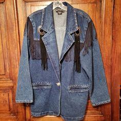 b60078db07 Vintage Next Move Western Cowgirl Denim Coat Fringe Conchos Womens Size  Medium  NextMove  BasicCoat