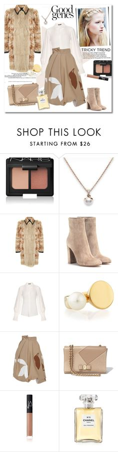 """Lovely look"" by vkmd ❤ liked on Polyvore featuring NARS Cosmetics, Mikimoto, Helen Yarmak, Gianvito Rossi, Alexander McQueen, Chloé, Jonathan Saunders, Salvatore Ferragamo, Chanel and women's clothing"