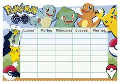 Horarioescolar con un fondo del Pokémon Go, en el formato universal PDF. Descarga gratis. Pokemon Go, Pokemon Birthday, Diy Calendar, Vector Clipart, Printable Labels, Christmas Cards, Ideas Para, Artsy, Minecraft