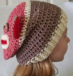 Crocheted Sock Monkey Slouchy Beanie  by TheSewingPassionista