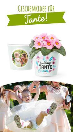 """Auf der Suche nach einem schönen Geschenk für die Tante? Mit dem Spruch: """"Lieblingstante"""" entsteht spielend leicht eine tolle Überraschung für Tante zum Geburtstag, Ostern, Weihnachten oder einfach ein Mitbringsel um Tante zu verzaubern! Alles, was dir in den Kopf kommt, kann so persönlich, wie du es gerne hättest, gemacht werden. Bequem auf unserer Webseite oder mit der iPhone App. Klingt verlockend? Eine schöne Blume finden und der Lieblingstante eine Freude machen! Cake, Iphone App, Wedding, Personalized Birthday Gifts, Gifts For Aunts, Beautiful Flowers, Xmas Gifts, Weihnachten, Pie Cake"""