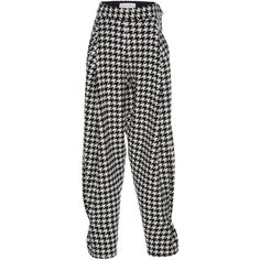 Wanda Nylon Houndstooth Check Harem Pants (955 610 LBP) ❤ liked on Polyvore featuring pants, black, harem pants, relaxed fit pants, nylon pants, harem trousers and high-waisted trousers
