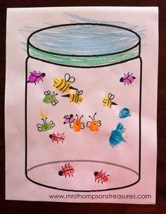 We're studying about insects in science, so I'm on the lookout for cute buggy crafts! This one we did today is simple and fun! The kids used paint to make different colored fingerprints on the jar template. I think stamp ink would work well too, we just didn't have any. We let the paint dry …
