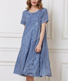 Blue Floral A-Line Midi Dress #zulily #zulilyfinds
