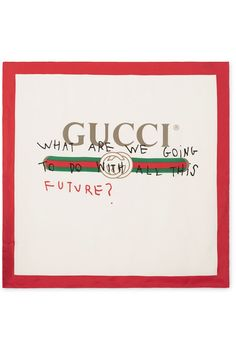 "If you follow Gucci on Instagram, you'll no doubt have been anticipating its collaboration with Coco Capitán. The artist's ""What are we going to do with all this future?"" slogan is written on the Fall '17 show invites and was recently scrawled across a building in New York City. This silk-twill scarf is printed with the house's iconic moniker and scribbled over with the witty aphorism."