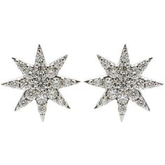 Bee Goddess Diamond Ishtar Star Stud Earring found on Polyvore featuring jewelry, earrings, diamond earring jewelry, diamond jewellery, diamond star earrings, sparkle jewelry and sparkly earrings