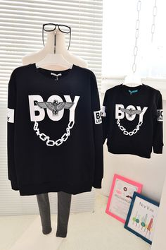 QZZ149 Autumn Winter family look father mother and son daughter sweatshirts cool letter boy 1 7Y kids family matching clothes