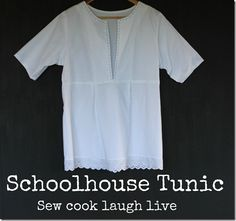 Schoolhouse tunic top. Great for wearing over a singlet or togs.  http://sewcooklaughlive.blogspot.com.au/2012/09/schoolhouse-tunic-i-love-this-top.html