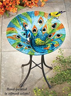Glass Peacock Birdbath Garden Decor Collections Etc Http://www.amazon.com
