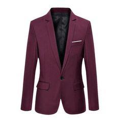 Stylish Men's Casual Slim Fit One Button Suit Blazer Coat Jacket Tops #Suiting&Blazers #menssuitsstylish
