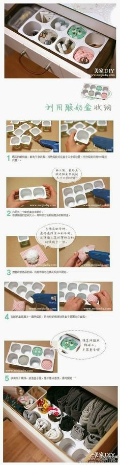 para inspirarte DIY Yogurt Cup Organizer DIY Yogurt Cup Organizer- can't understand the instructions to this one, but I like it!DIY Yogurt Cup Organizer DIY Yogurt Cup Organizer- can't understand the instructions to this one, but I like it! Diy Storage Boxes, Drawer Storage, Storage Ideas, Drawer Dividers, Junk Drawer, Diy Rangement, Ideas Para Organizar, Yogurt Cups, Yogurt Diy