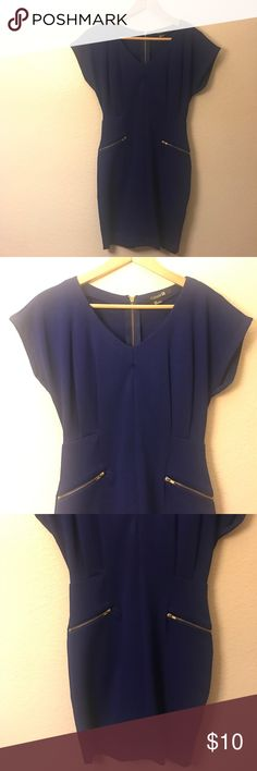 Dress Forever 21 Royal blue dress with gold zipper detail (like new condition, only worn once) Forever 21 Dresses Mini