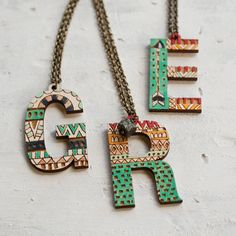 Helvetica handpainted Initial Necklace love these!! and a great price!
