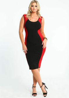 Plus Size Hourglass Bodycon Dress, BLACK/RED, large