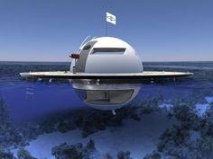 """Un chantier naval italien développe actuellement un habitat marin autonome, l'U.F.O. pour """"Unidentified Floating Object"""" (objet flottant non identifié). Le design s'inspire des soucoupes volantes ..."""