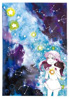 Fan Art, Anime, Watercolor Painting, Illustrations, Display, Backgrounds, Girls, Cartoon Movies, Fanart