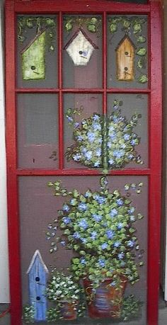 Vintage Windows and Screens - Susan Wymola - Picasa Web Albums Painted Window Screens, Window Pane Art, Window Frames, Vintage Windows, Old Windows, Vintage Doors, Antique Doors, Vintage Art, Old Window Projects