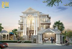 ***Villa King B*** House Outside Design, House Front Design, Classic House Design, Modern House Design, Home Room Design, Dream Home Design, Glam House, Mansion Interior, Beautiful Home Designs