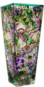 Amazon.com: Amia 10-Inch Tall Hand-Painted Glass Vase Featuring Hummingbirds and Wisterias: Home & Kitchen