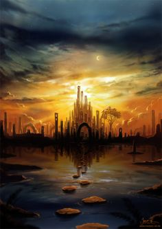 I'm a long time fan of the digital fantasy artist, Jeremiah Morelli, who touches on lucid dreaming through his fairytale landscapes. Fantasy City, Fantasy Places, Sci Fi Fantasy, Fantasy World, Fantasy Art Landscapes, Fantasy Landscape, Supernatural, Fantasy Setting, Fantasy Illustration
