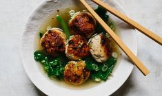 Ginger-Chicken Meatballs With Chinese Broccoli