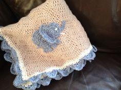 Cute Elephant crochet baby blanket x