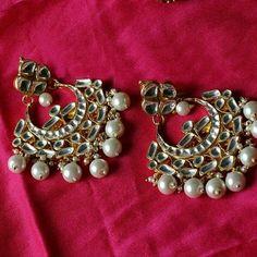 Beautiful golden kundan chandbalis avaliable at oceanarium . Brooch, Jewellery, Accessories, Beautiful, Fashion, Moda, Jewels, Jewelry Shop, Fashion Styles