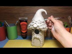 How To Make a Paper Clay Fantasy Elf House, toadstool, Fairy Mushroom House – Diy Garden Fairy House Crafts, Clay Fairy House, Fairy Houses, Polymer Clay Crafts, Diy Clay, Polymer Clay Fairy, Clay Christmas Decorations, Mushroom House, Clay Fairies