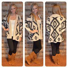 My fall wardrobe needs this aztec cardigan paired with fringe boots