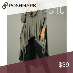 """""""Kylie"""" Cowl Neck Cape Sweater Chic, super soft, oversized, knit poncho/cape style sweater, pleated asymmetrical draped hem, charcoal gray, cowl neckline. Perfect for crisp fall weather. A Real Statement Piece and Show stopper!  Material: 96% rayon 4% spandex  Made in USA   Measurements:  Length: 46"""" from neck to longest hem point S: 32"""" armpit to armpit M: 34"""" wide armpit to armpit Sweaters"""