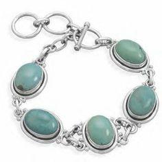 Silver Toggle Turquoise Bracelet