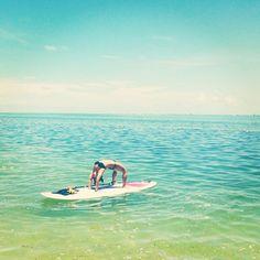 Paddle-yogaing in Islamorada, FL. #paddleyoga #paddleboarding #paddleboard #yoga #islamorada #florida #keys #SUP