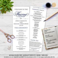 Printable Wedding program template Elegant by WeddingInvitationByC