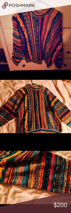 Vintage Luxury Coogi Sweater Authentic, is me of a kind Vintage, Luxury Coogi Sweater from Australia. This is a very unique and one of a kind piece, with beautiful colors and detailing. Can be worn to make a statement at an event, to stay warm and cozy, or to rock a vintage look. COOGI Sweaters Crew & Scoop Necks