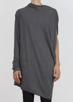 Asymmetrical tunic in washed cotton jersey. One long sleeve with gentle draping under other arm. Rolled, raw edge seam detail from neck to elbow. Raw edge hem and sleeve finish. One size fits most. Model is tall. Made in Canada. Grey Stripes, Black And Grey, Women Wear, High Neck Dress, Turtle Neck, Tunic, Long Sleeve, Sleeves, Model