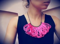 Hot Pink Satin Cords Bib Necklace, Choose Your Colour, Statement Necklace, Rope Jewelry, Silk, Elegant, Autumn, Gift for Her, Neon Pink. $29.00, via Etsy.